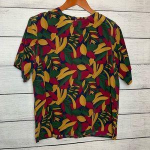 [Douglass] Vintage Leaves Print Silk Top